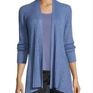 Eileen Fisher Ribbed Knit Open Cardigan Sweater